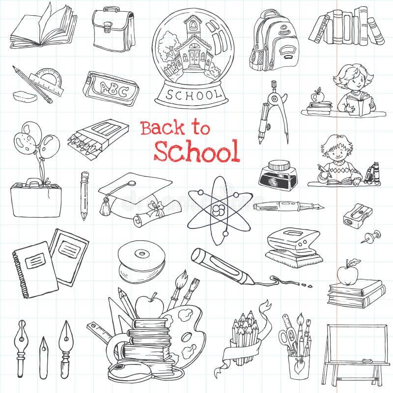 De nuevo a doodles de la escuela stock de ilustración