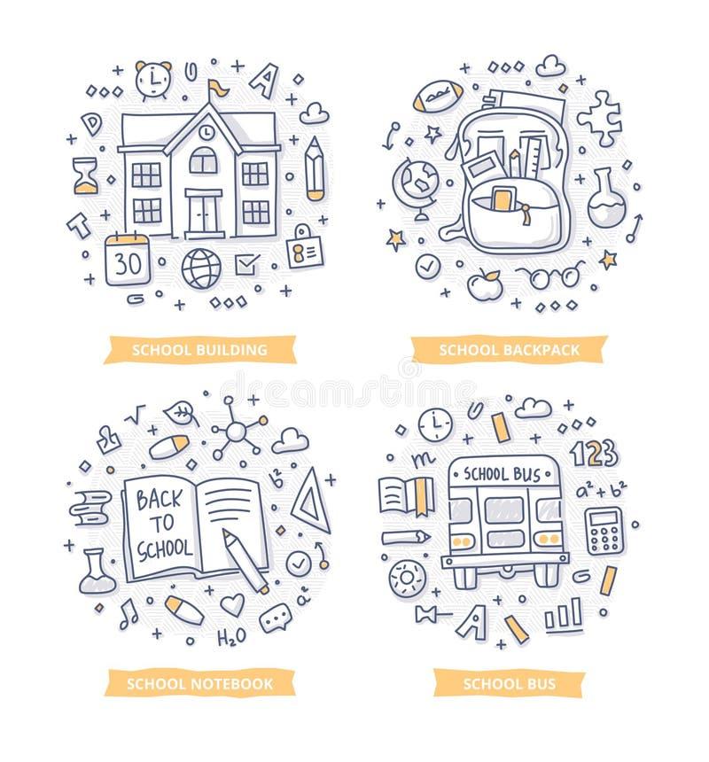 De nuevo a ejemplos del garabato de la escuela stock de ilustración