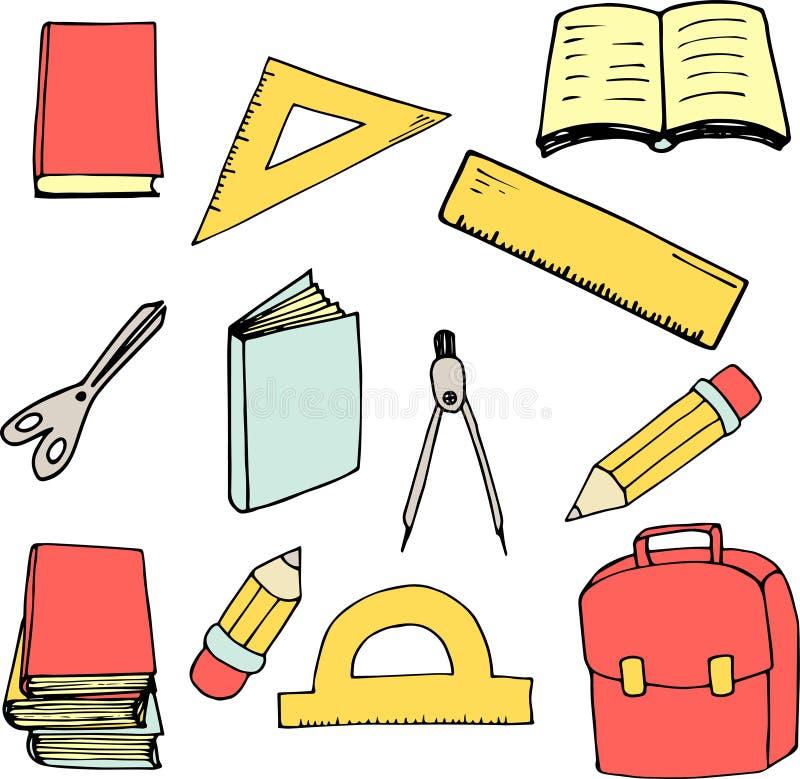 De nuevo a elementos de la escuela en estilo de la historieta Grande para la impresión, el diseño de tarjeta, la tela o el papel  stock de ilustración