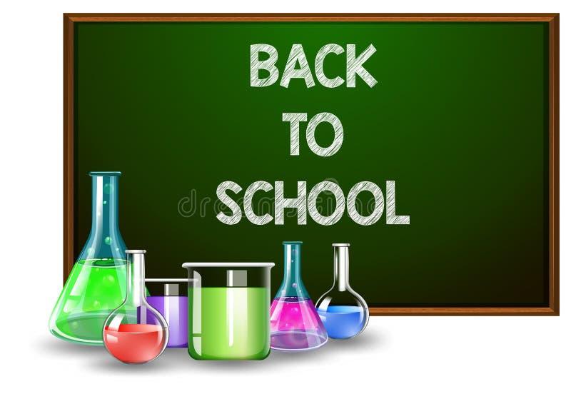 De nuevo a equipos de la escuela y de laboratorio stock de ilustración