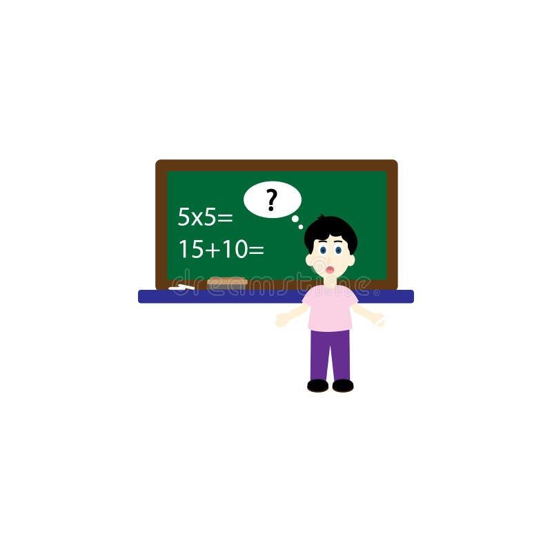 De nuevo a escuela, alumno del muchacho que se coloca en el ejemplo plano del vector del espacio de la copia de Front Of Chalk Bo ilustración del vector