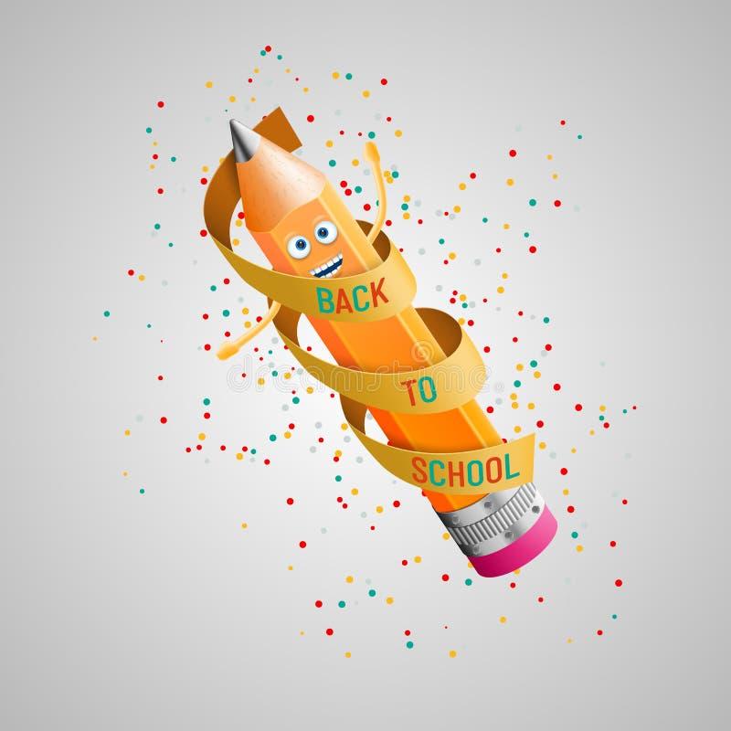 De nuevo a escuela Carácter divertido del lápiz envuelto en cinta roja, alrededor de los caramelos coloreados libre illustration