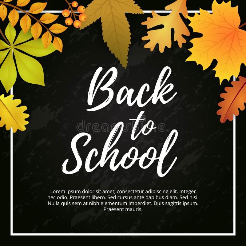 De nuevo a escuela con Autumn Seasonal Poster Template Design ilustración del vector