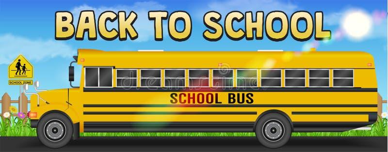 De nuevo a escuela con el autobús escolar en el camino stock de ilustración