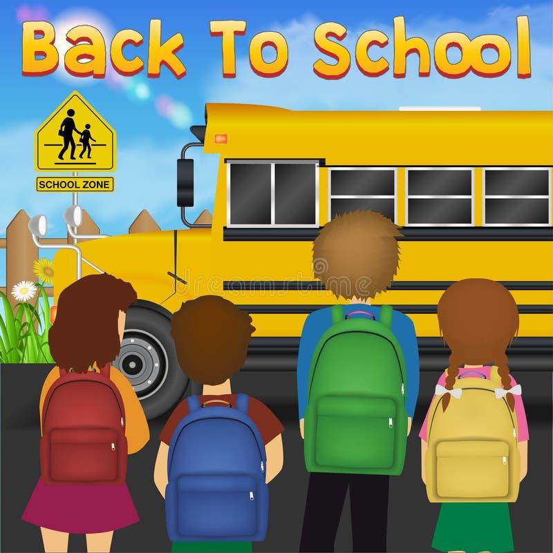 De nuevo a escuela con el estudiante delante del autobús escolar ilustración del vector