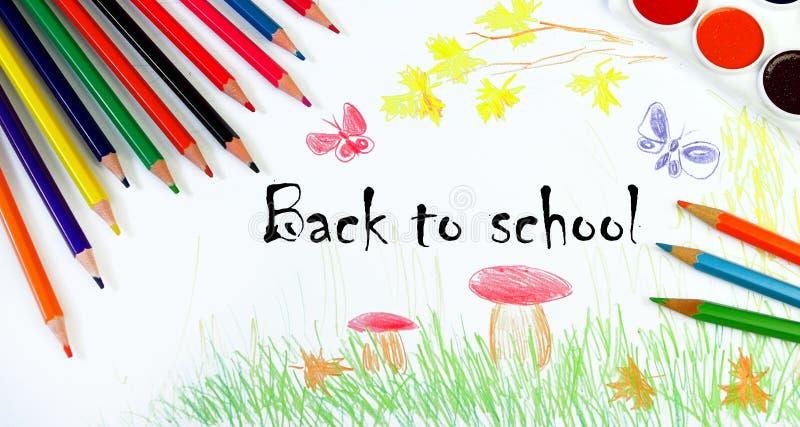 De nuevo a escuela Concepto del principio del año escolar El dibujo de los niños del otoño Dibuje el otoño Mi propio diseño de di foto de archivo libre de regalías