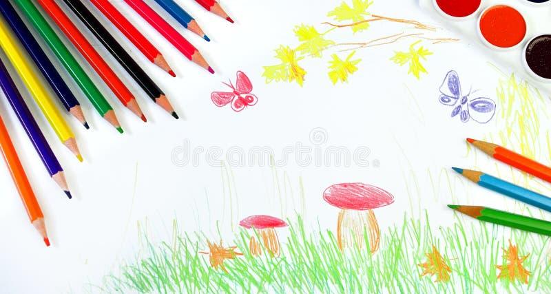 De nuevo a escuela Concepto del principio del año escolar El dibujo de los niños del otoño Dibuje el otoño Mi propio diseño de di fotografía de archivo libre de regalías