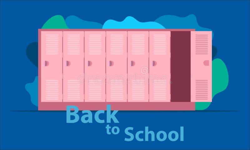 De nuevo a escuela el armario largo alto del h?roe la carga el ayudante de sus ni?os tiempo a feliz divertido con los amigos Ilus ilustración del vector