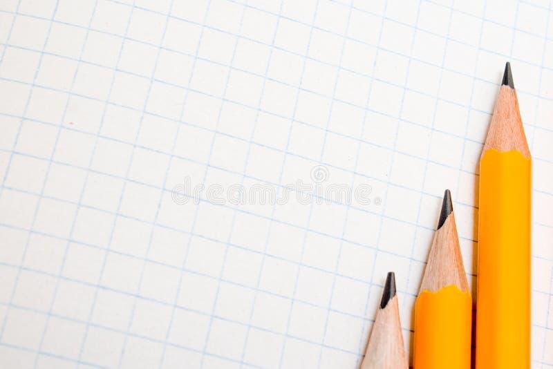 De nuevo a escuela, el concepto de la educación con los lápices anaranjados y el cuaderno en el fondo por nuevo curso académico e imagen de archivo libre de regalías