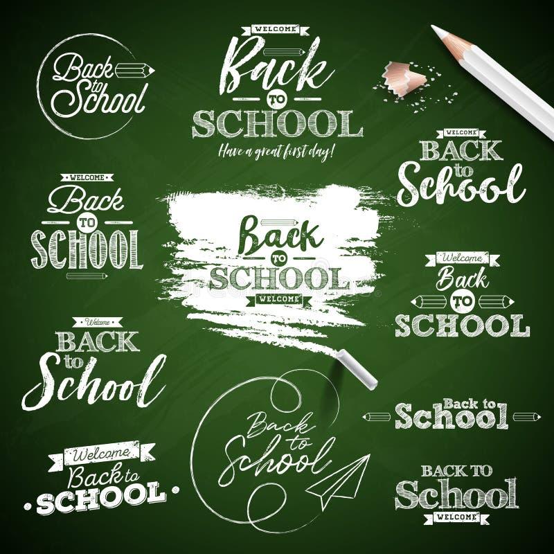 De nuevo a escuela el diseño con las letras de la tipografía fijó en fondo verde de la pizarra Ejemplo del vector para saludar stock de ilustración