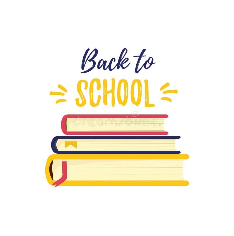 De nuevo a escuela El símbolo del conocimiento y estudia el libro Una pila de libros de texto foto de archivo libre de regalías