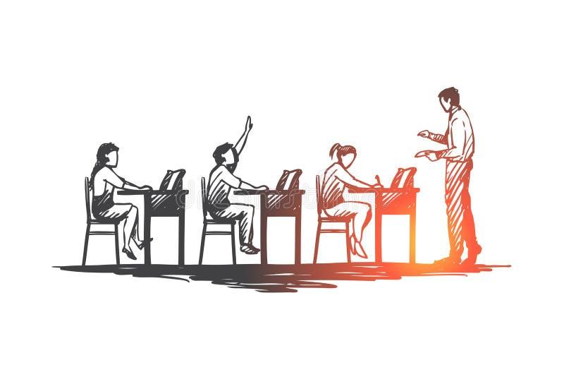 De nuevo a escuela, estudio, educación, conocimiento, aprendiendo concepto Vector aislado dibujado mano stock de ilustración