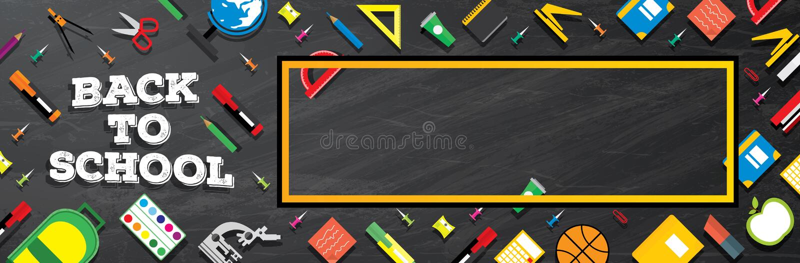 De nuevo a escuela Fuentes de escuela en fondo de la pizarra ilustración del vector