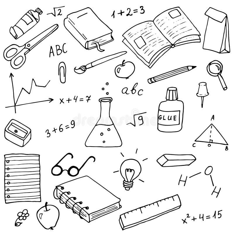 De nuevo a escuela garabatea el sistema del vector stock de ilustración