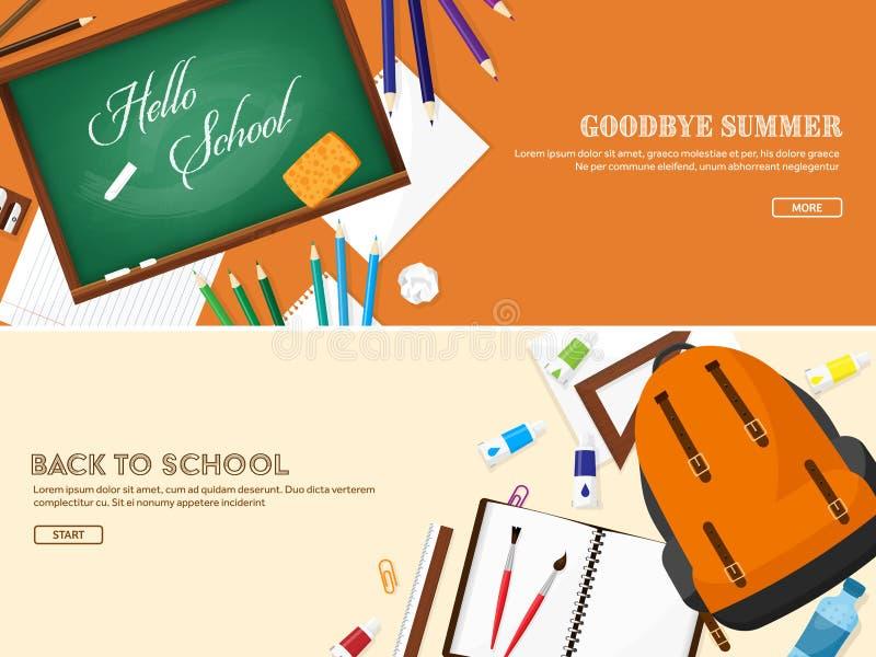 De nuevo a escuela Ilustración del vector Estilo plano Educación y cursos en línea, tutoriales del web, aprendizaje electrónico E stock de ilustración