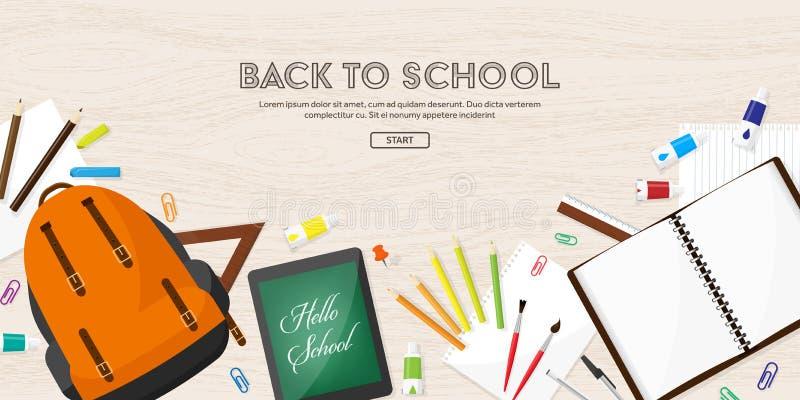 De nuevo a escuela Ilustración del vector Estilo plano Educación y cursos en línea, tutoriales del web, aprendizaje electrónico E ilustración del vector