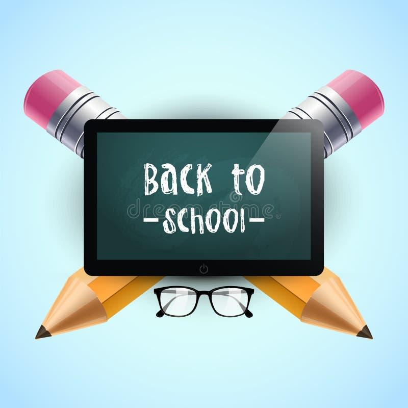 De nuevo a escuela Ilustración del vector Plantilla del fondo de la escuela con la tableta, las lentes y dos lápices De nuevo al  stock de ilustración