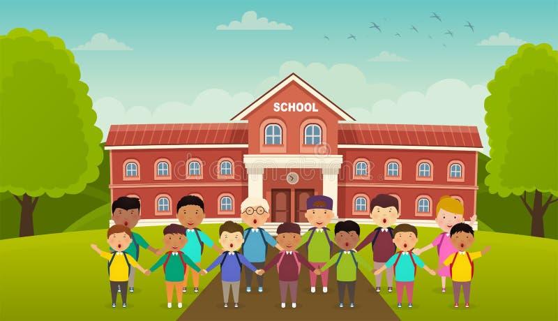 De nuevo a escuela linda de la escuela los niños se colocan delante de la escuela Jardín de la escuela, callejón con los bancos libre illustration