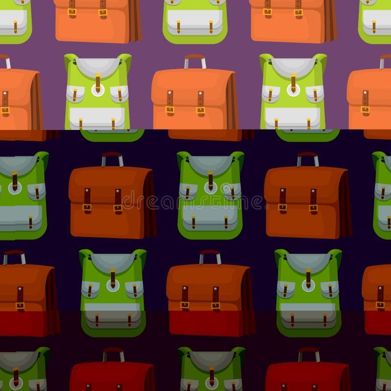 De nuevo a escuela los niños hacen excursionismo la mochila del equipaje de la educación del tiempo de trabajo del ejemplo del ve libre illustration