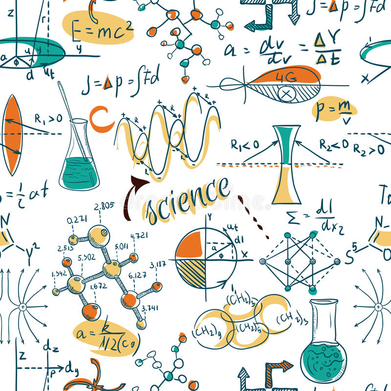 De nuevo a escuela: los objetos del laboratorio de ciencia garabatean el modelo inconsútil de los bosquejos del estilo del vintag ilustración del vector