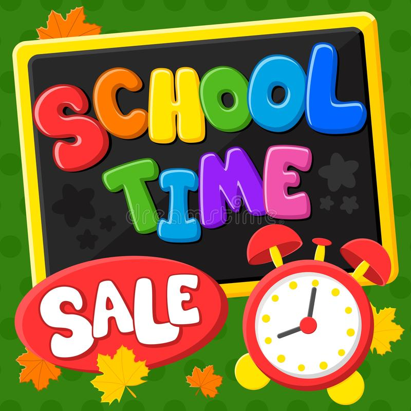 De nuevo a escuela Tiempo de la escuela Venta Título y elementos coloridos en fondo verde Ilustraci?n del vector stock de ilustración
