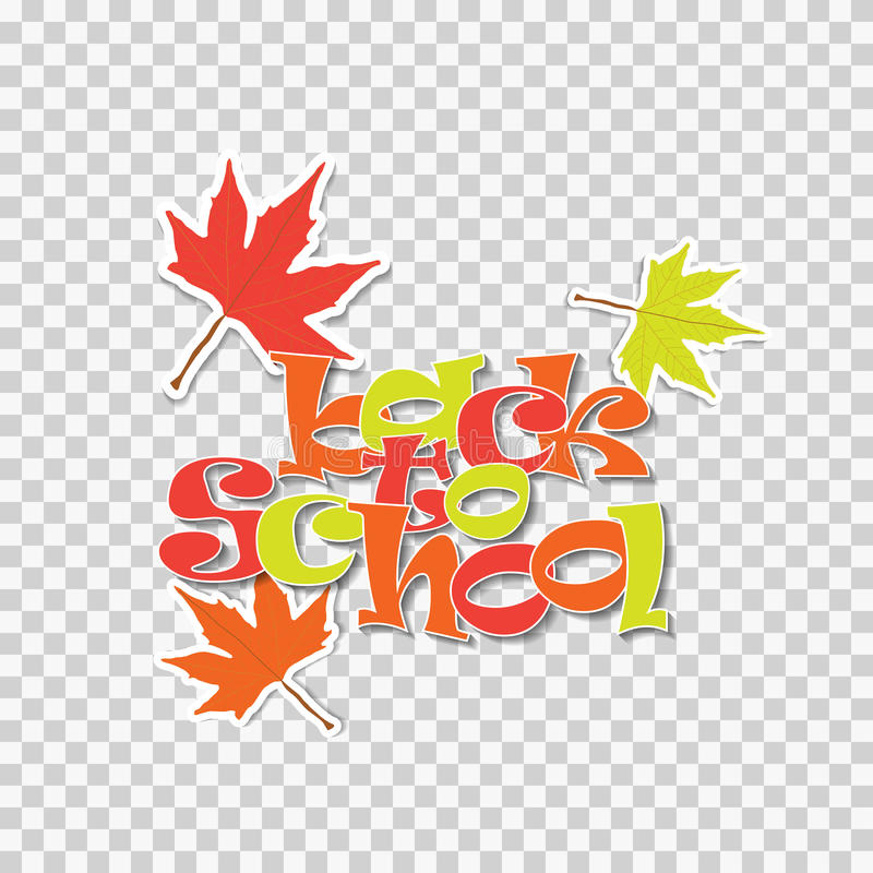 De nuevo a etiqueta del ejemplo del vector de la escuela con las hojas de arce aisladas en fondo transparente Stiker para la prom stock de ilustración
