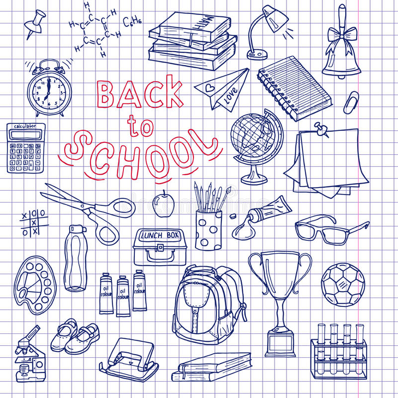 De nuevo a fuentes de escuela el cuaderno incompleto garabatea con las letras libre illustration