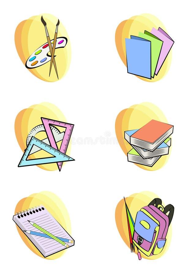 De nuevo a iconos de la escuela ilustración del vector