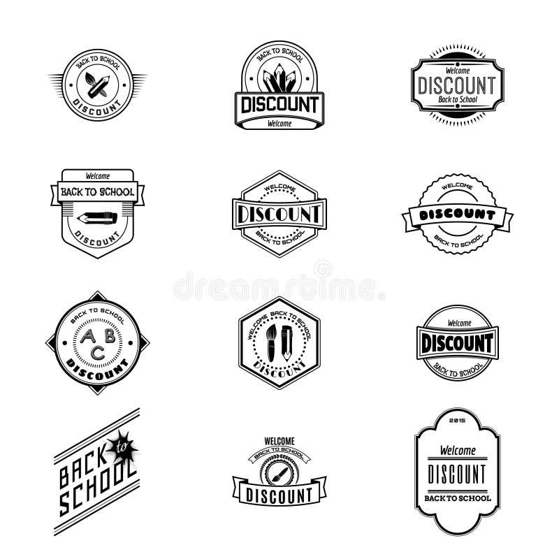 De nuevo a insignias de escuela los logotipos y las etiquetas para ningunos utilizan libre illustration