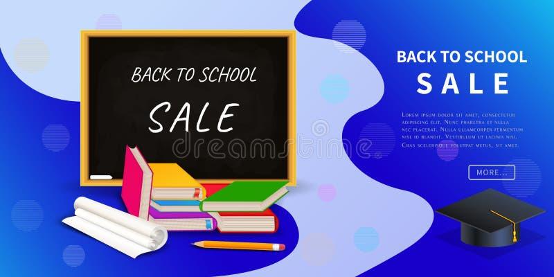 De nuevo a la bandera de la web del descuento de la venta de la escuela para su promoción del negocio o de la comercialización al libre illustration