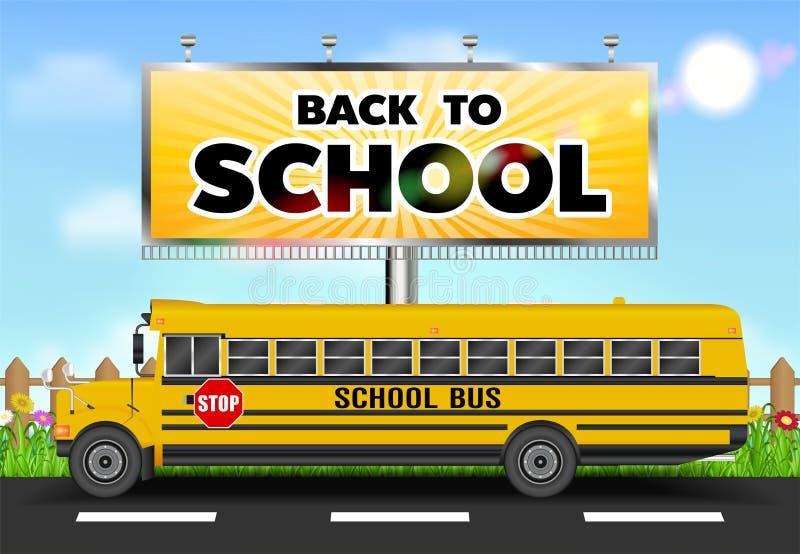 De nuevo a la cartelera de la escuela con el autobús escolar en el camino ilustración del vector