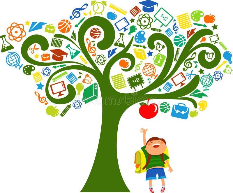 De nuevo a la escuela - árbol con los iconos de la educación stock de ilustración