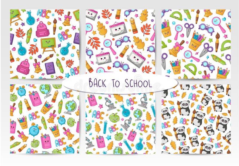 De nuevo a la escuela Kawaii libre illustration