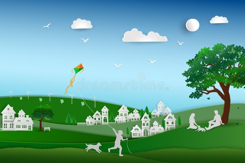 De nuevo a la naturaleza y ahorre el concepto del ambiente, amor de la familia el perro feliz y relájese en el prado, diseño de p libre illustration
