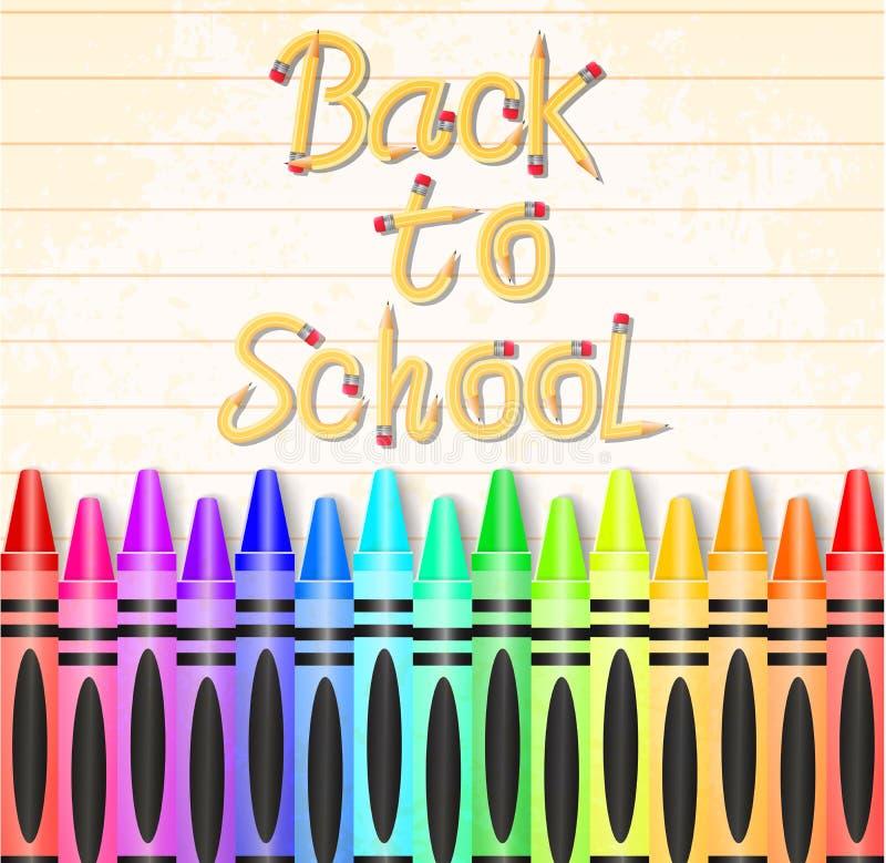 De nuevo a la tipografía de la escuela hecha del lápiz con diversos creyones coloreados libre illustration