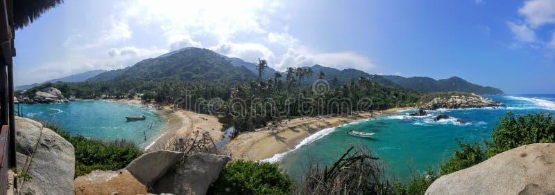 De nuevo a las playas traseras, parque nacional de Tayrona imágenes de archivo libres de regalías