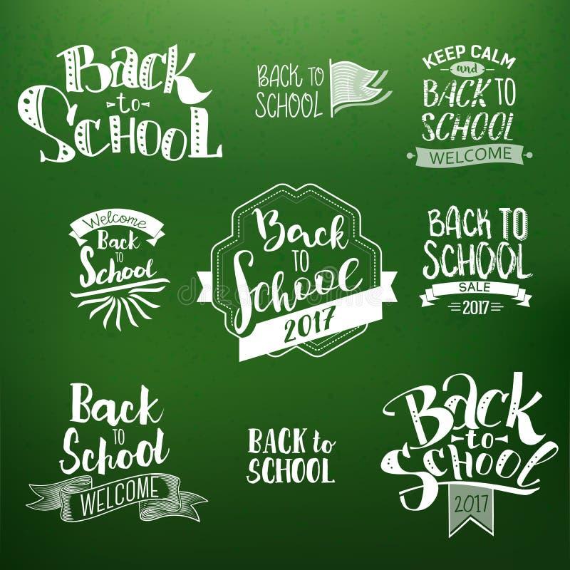 De nuevo a los diseños caligráficos de la escuela fijados ilustración del vector