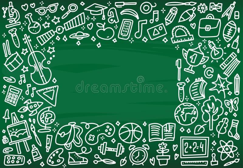 De nuevo a marco de la bandera de escuela con textura de la línea iconos del arte de la educación, de los objetos y de los materi stock de ilustración