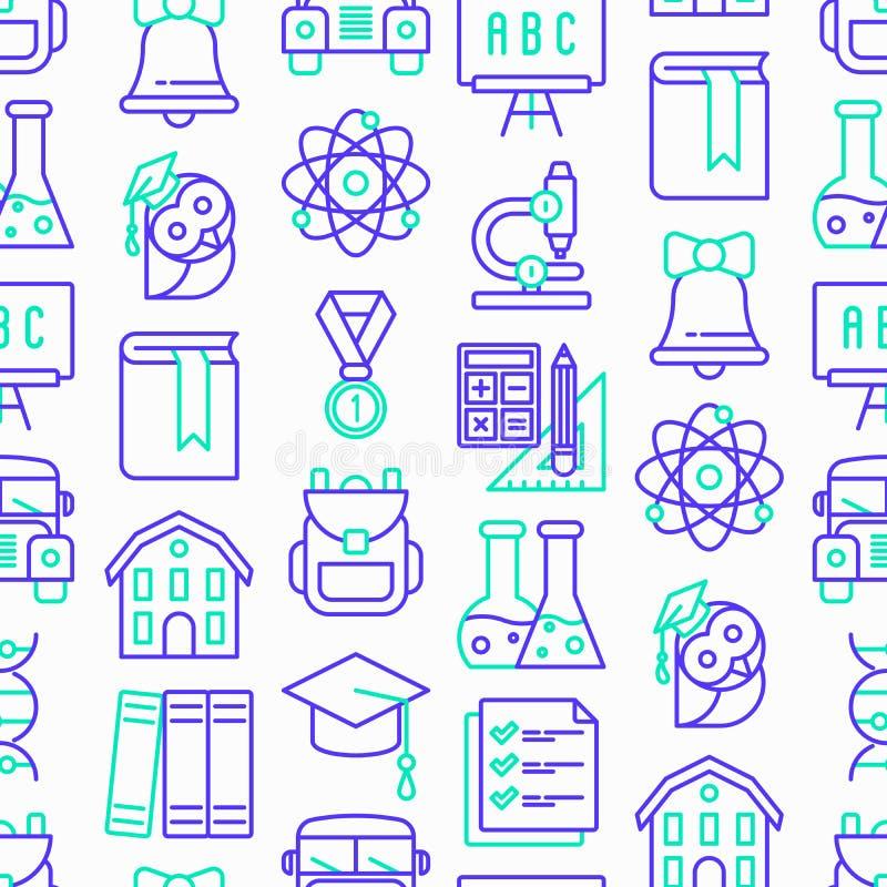 De nuevo a modelo inconsútil de la escuela con la línea fina iconos: mochila, campana, libro, microscopio, conocimiento, búho, ca imagen de archivo libre de regalías