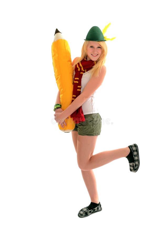 De nuevo a muchacha del duende de la escuela imagen de archivo libre de regalías