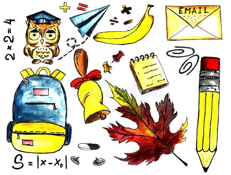 De nuevo a niños de la escuela con el sistema del icono de la escuela, estilo de la acuarela coloreado, agrupado y acodado para c ilustración del vector