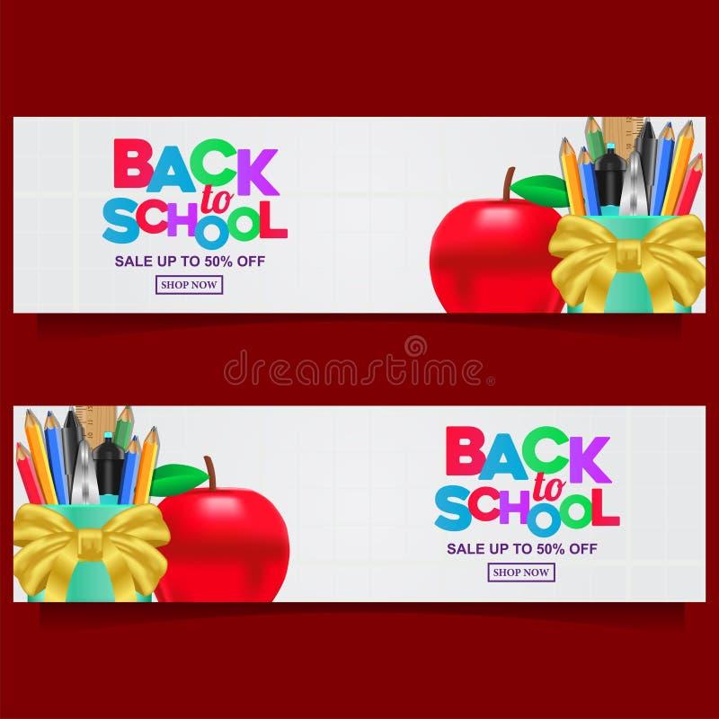 De nuevo a plantilla colorida de la bandera del texto de la escuela con inmóvil con el fondo blanco libre illustration