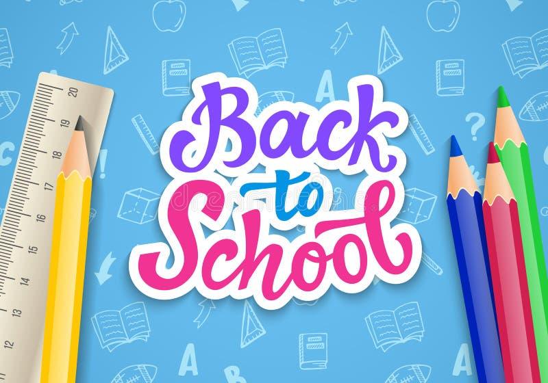 De nuevo a plantilla de la bandera de escuela con la mano dibujada entinte la caligrafía moderna libre illustration