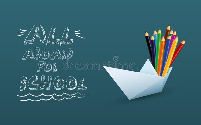 De nuevo a plantilla del vector del cartel del shool con los lápices del barco y del color del papel, dibujo de la mano en la piz libre illustration