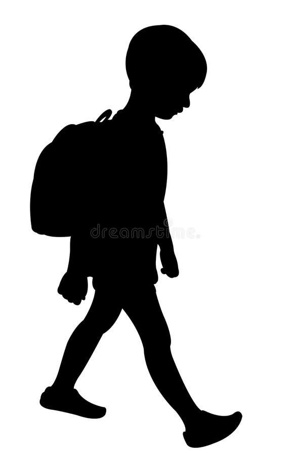 De nuevo a silueta del niño de la escuela ilustración del vector