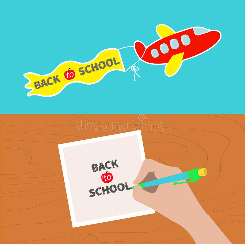 De nuevo a sistema de la bandera de escuela Pluma de dibujo de la escritura de la mano stock de ilustración
