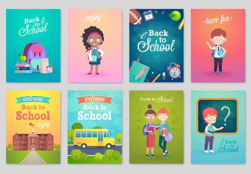 De nuevo a sistema de tarjeta de la escuela, la escuela embroma, las pizarras, equipo ilustración del vector