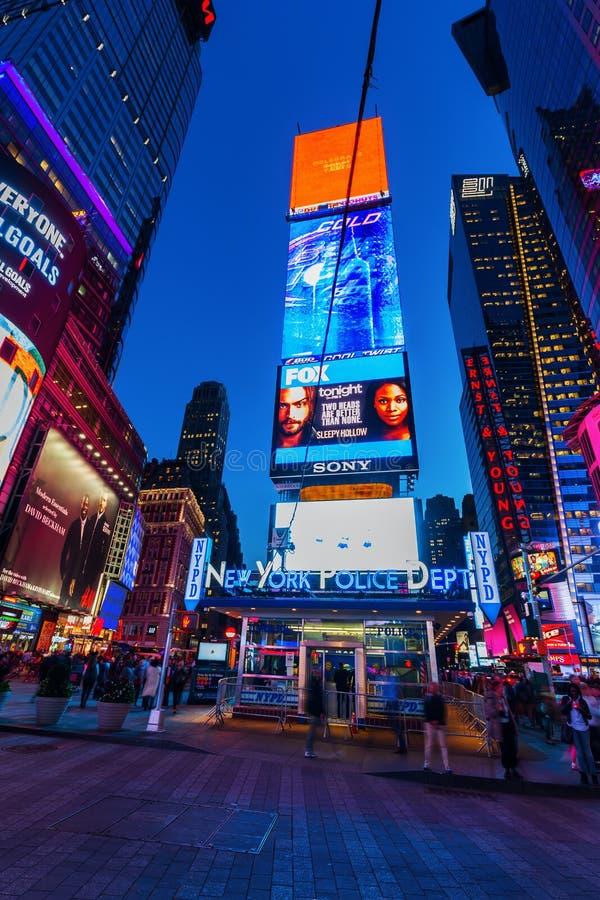 De nuit de scène place parfois, Manhattan, New York City photographie stock libre de droits
