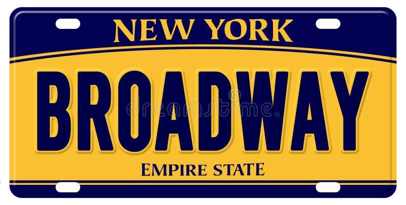 De Nummerplaat Groot Apple Broadway van New York stock illustratie