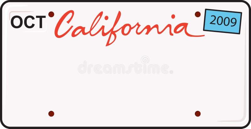 De Nummerplaat van Californië stock illustratie